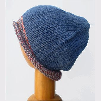 Hand Knitted Slouchy Beanie Hat (Blue with Rust Trim)