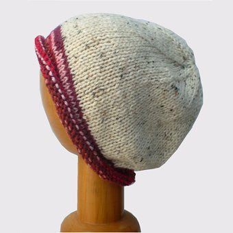 Hand Knitted Slouchy Beanie Hat (Cream Fleck with Red/Brown Trim)