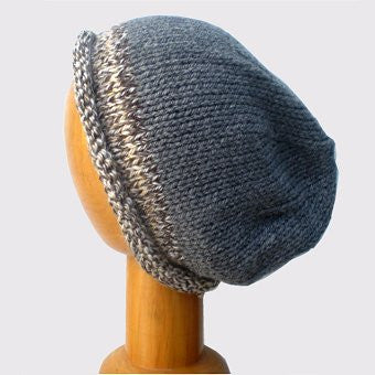 Hand Knitted Slouchy Beanie Hat (Grey with Brown Trim)