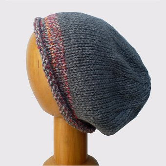 Hand Knitted Slouchy Beanie Hat (Grey with Rust Trim)