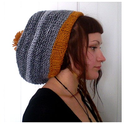 Dreadz Hand Knitted Slouchy Ribbed Brim Beanie Bobble Hat (Black/White/Mustard)