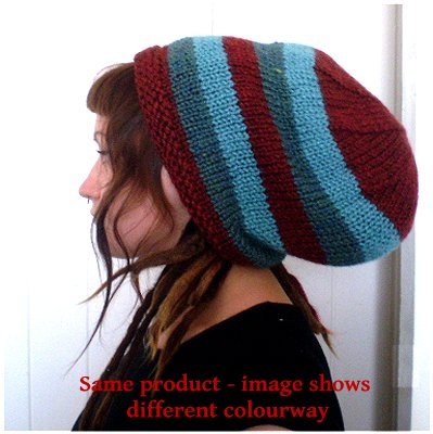 Dreadz Hand Knitted Slouchy Striped Beanie Hat