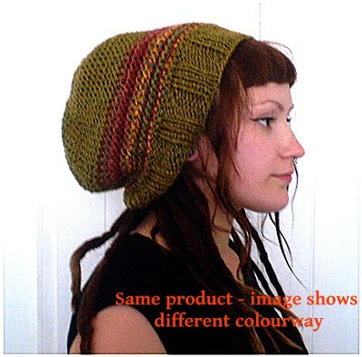 Dreadz Hand Knitted Slouchy Ribbed Brim Beanie Hat AW