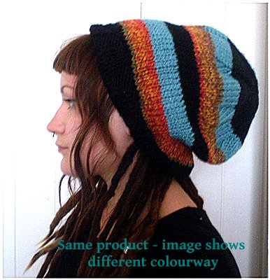 Dreadz Hand Knitted Slouchy Ribbed Brim Beanie Hat