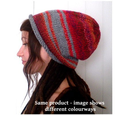 Dreadz Hand Knitted Rolled Brim Slouchy Beanie Hat AW