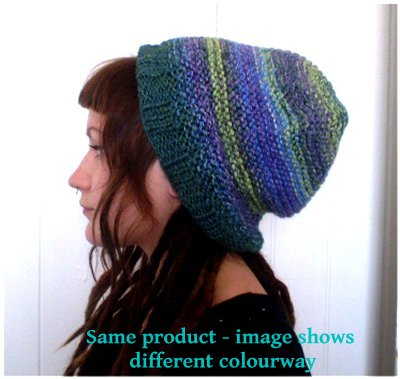 Dreadz Multi Coloured Slouchy Ribbed Brim Beanie Hat