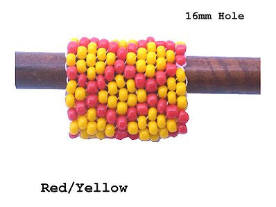 Handmade Peyote Stitch Beaded Dreadlock Sleeve - LARGE (16mm Hole) x 1 (#120) Red/Yellow