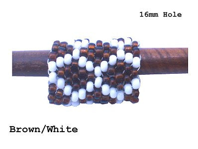 Handmade Peyote Stitch Beaded Dreadlock Sleeve - LARGE (16mm Hole) x 1 (#122) Brown/White