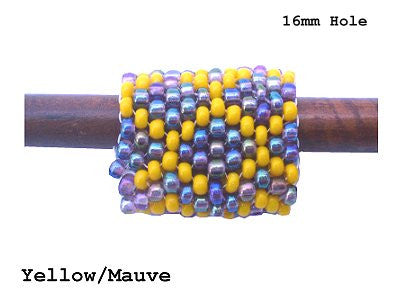 Handmade Peyote Stitch Beaded Dreadlock Sleeve - LARGE (16mm Hole) x 1 (#123) Yellow/Mauve