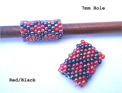 Handmade Peyote Stitch Beaded Dreadlock Sleeve (7mm Hole) x 1 (#131) Red/Black