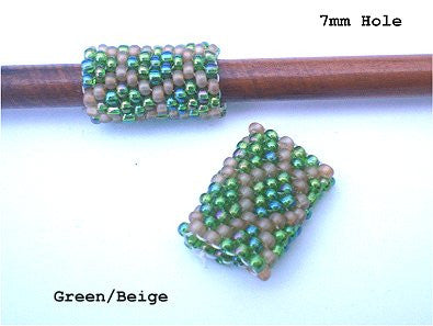 Handmade Peyote Stitch Beaded Dreadlock Sleeve (7mm Hole) x 1 (#134) Green/Beige