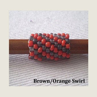 Handmade Peyote Stitch Beaded Dreadlock Sleeve (7mm Hole) x 1 (Brown/Orange Swirl)