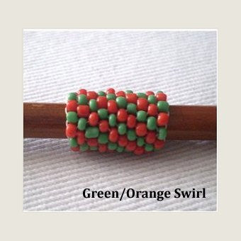 Handmade Peyote Stitch Beaded Dreadlock Sleeve (7mm Hole) x 1 (Green/Orange Swirl)