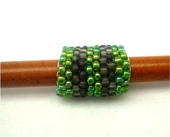 Handmade Peyote Stitch Beaded Dreadlock Sleeve (7mm Hole) x 1 (#006)