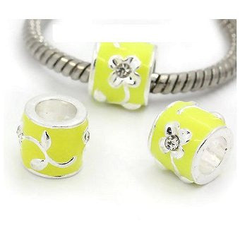 Dreadz Silver and Yellow Enamel Dreadlock Hair Beads (5mm Hole) x 3 Bead Pack