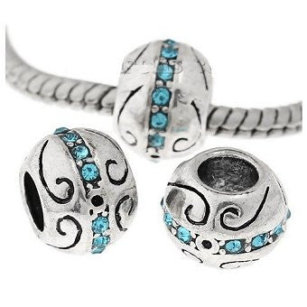 Dreadz Silver and Blue Jewel Round Dreadlock Hair Beads (5.2mm Hole) x 1 Bead
