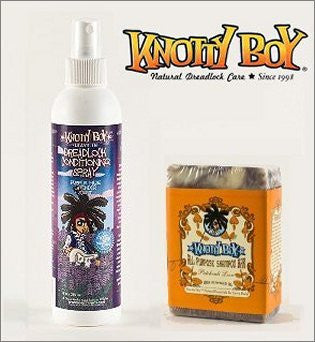 Knotty Boy Patchouli Bar & Lavender Conditioning Spray Combo