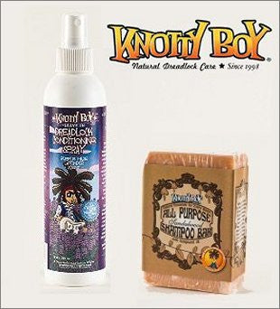 Knotty Boy All Purpose Shampoo Soap Bar Sandalwood Spice And Purple Haze Lavender Conditioning Spray Combo Pack