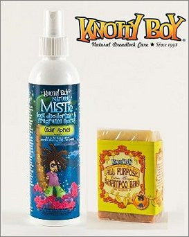 Knotty Boy Cedar Spruce Deodorizer Spray & Citrus Ginger Shampoo Bar DUO