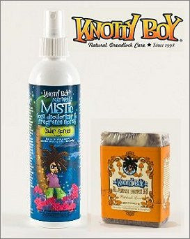 Knotty Boy Cedar Spruce Deodorizer Spray & Patchouli Love Shampoo Bar DUO
