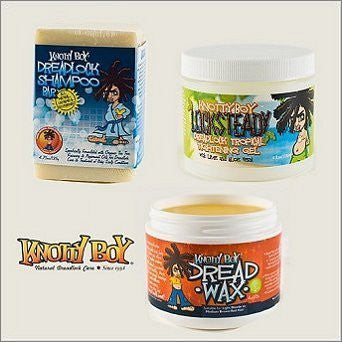 Knotty Boy Dreadlock Tightening Gel, Shampoo Soap Bar & Dread Wax Light TRIO