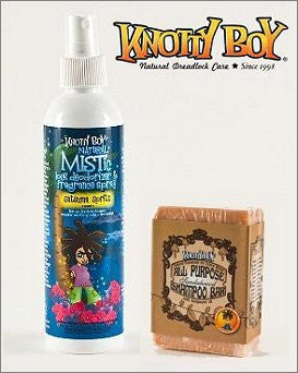 Knotty Boy Satsuma Deodorizer Spray & Sandalwood Spice Shampoo Bar DUO