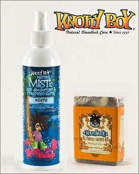 Knotty Boy Waterfall Deodorizer Spray & Patchouli Love Shampoo Bar DUO