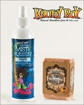 Knotty Boy Waterfall Deodorizer Spray & Sandalwood Spice Shampoo Bar DUO