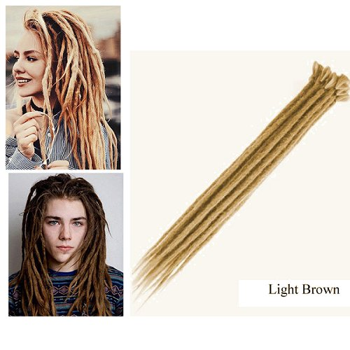 Dreadlock Synthetic Single Ended Dread Extensions (x 5 pack) (Light Brown)