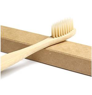 Head of Natural Eco-Friendly Biodegradable Bamboo Toothbrush with Medium Stiffness Bristles resting on box