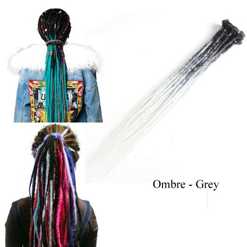 Dreadlock Synthetic Single Ended Dread Extensions (x 5 pack) (Ombre Grey)