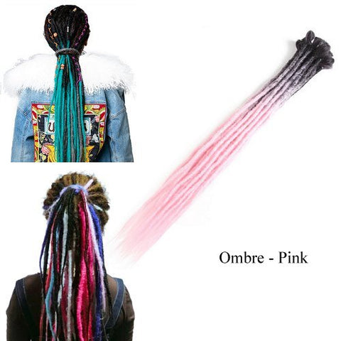 Dreadlock Synthetic Single Ended Dread Extensions (x 5 pack) (Ombre Pink)