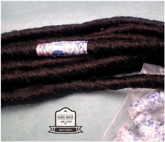 Dreadz Handmade Glazed Recycled Paper Hair Beads (8mm Hole) x 1 Bead (#11)