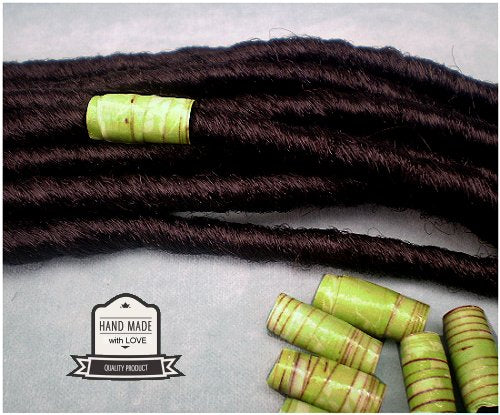 Dreadz Handmade Glazed Recycled Paper Hair Beads (8mm Hole) x 1 Bead (#24)