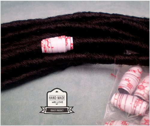 Dreadz Handmade Glazed Recycled Paper Hair Beads (8mm Hole) x 1 Bead (#32)