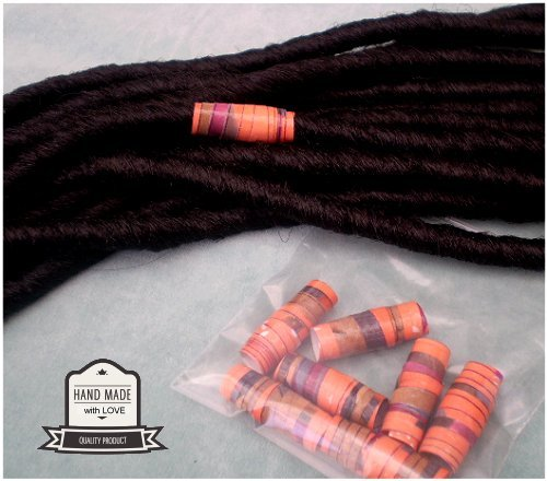 Dreadz Handmade Glazed Recycled Paper Hair Beads (8mm Hole) x 1 Bead (#43)