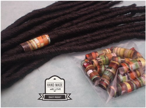 Dreadz Handmade Glazed Recycled Paper Hair Beads (8mm Hole) x 1 Bead (#45)