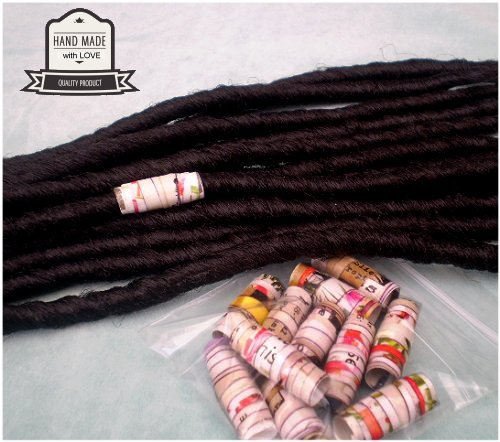 Dreadz Handmade Glazed Recycled Paper Hair Beads (8mm Hole) x 1 Bead (#48)