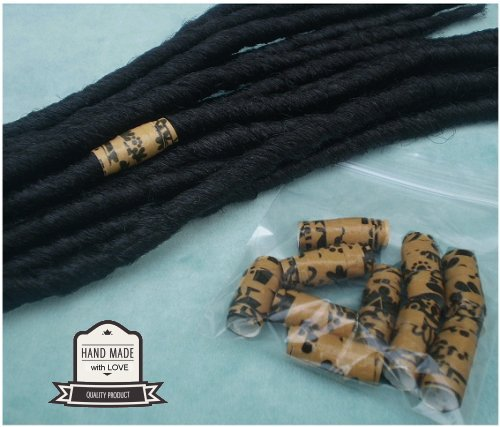 Dreadz Handmade Glazed Recycled Paper Hair Beads (8mm Hole) x 1 Bead (#49)