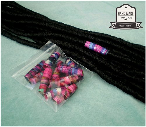 Dreadz Handmade Glazed Recycled Paper Hair Beads (8mm Hole) x 1 Bead (#51)