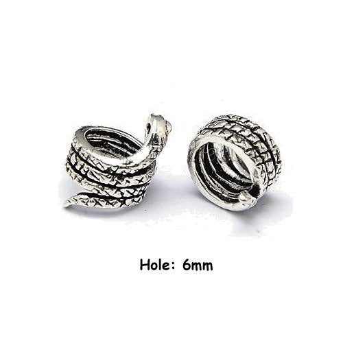 Dreadz Decorative Silver Snake Dreadlock Hair Beads (6mm Hole) x 2 Bead Pack