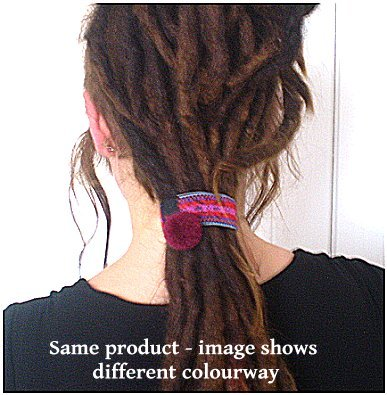 Dreadz Boho Ethnic Elasticated Pom Pom Hair Tie x 1