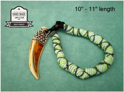 Dreadz Handmade Cotton Raggi Locks with Imitation Wolf Tooth Pendant x 1 (Colour #24)