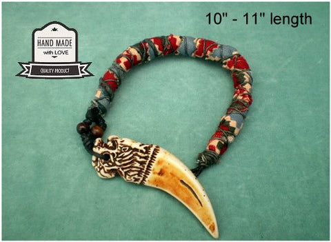 Dreadz Handmade Cotton Raggi Locks with Imitation Wolf Tooth Pendant x 1 (Colour #25)
