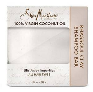 Bar of Shea Moisture 100 Percent Virgin Coconut Oil Rhassoul Clay Shampoo Bar 128gm shown inside cardboard box packaging