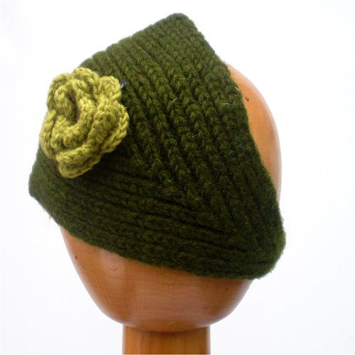 Fair Trade Knitted Headband with Detachable Flower (Green)