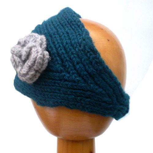 Fair Trade Knitted Headband with Detachable Flower (Blue)