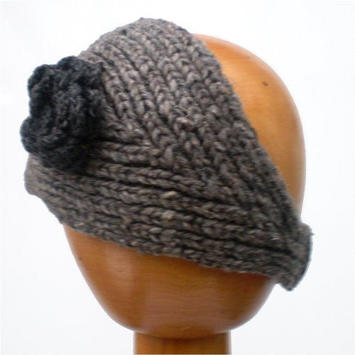 Fair Trade Knitted Headband with Detachable Flower (Grey)
