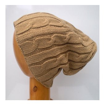 Dreadz Slouch Cable Beanie Hat (Camel)