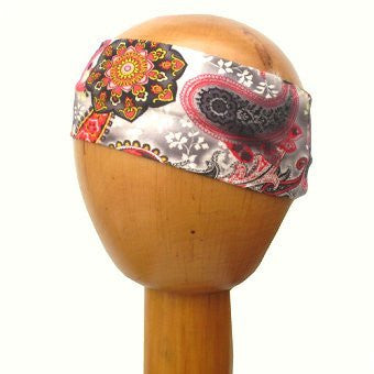 Stretchy Cotton Wide Headband Floral Paisley (Red/Grey)